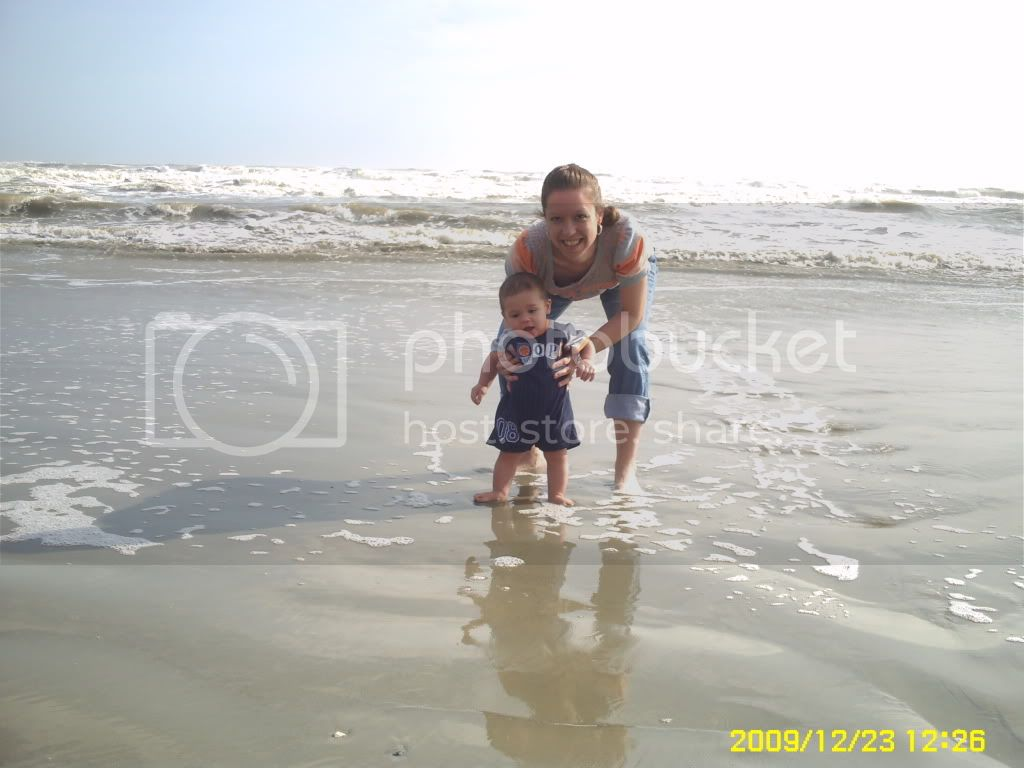 Momma &amp;amp; Justin in the water .. burrrr